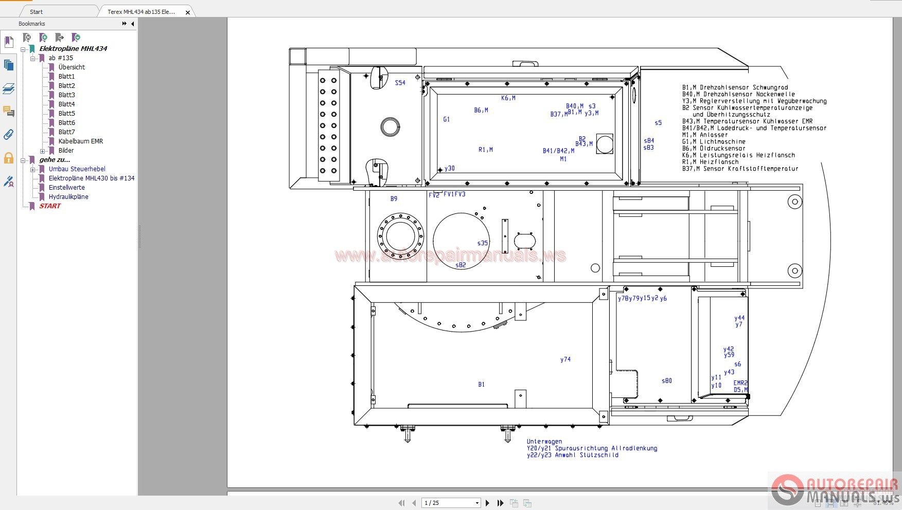 terex mhl434 ab135 electrical diagram
