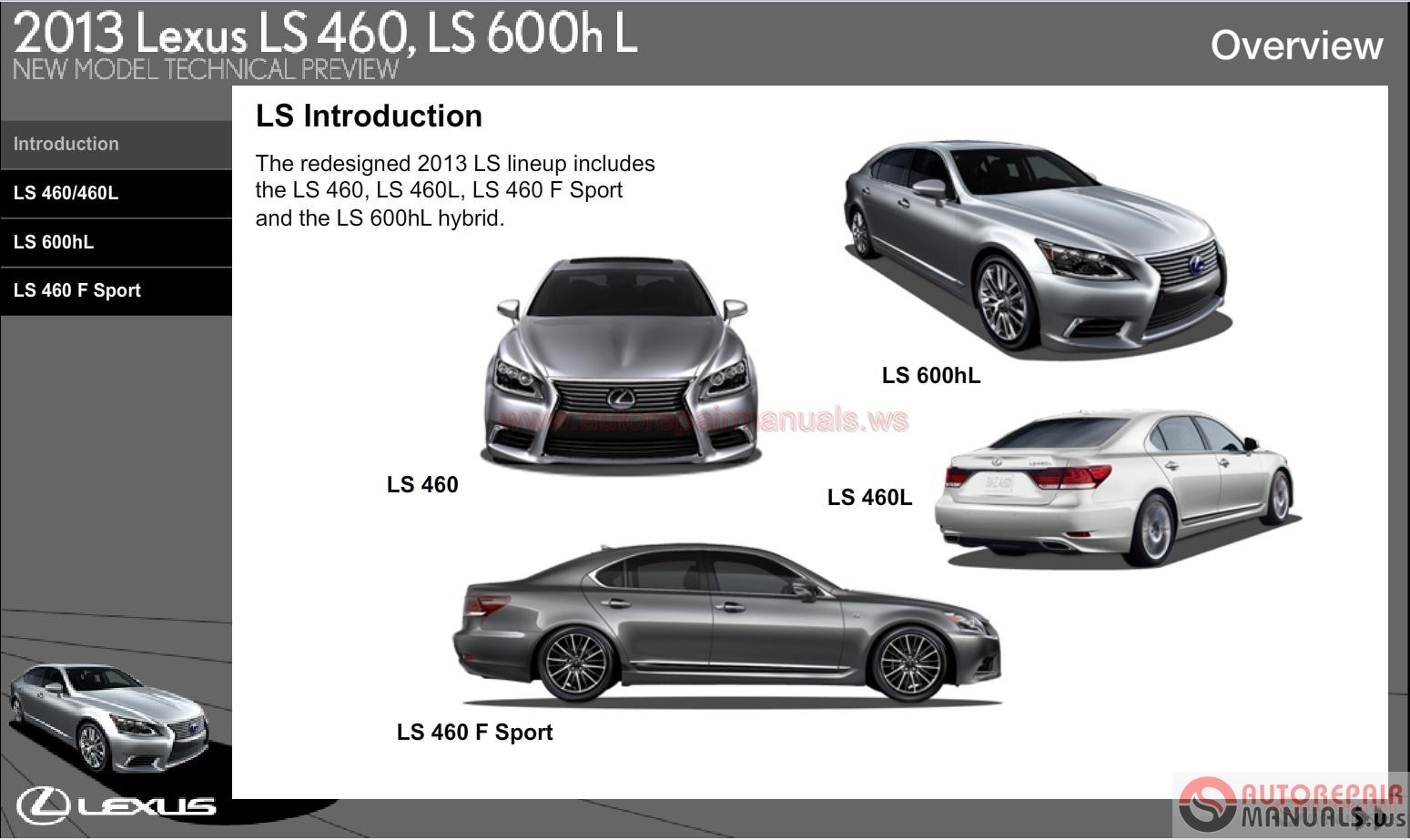 lexus ls460  ls460hl 2013 new model technical preview