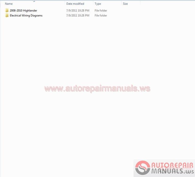 Toyota Highlander 2008-2010 Workshop Manual