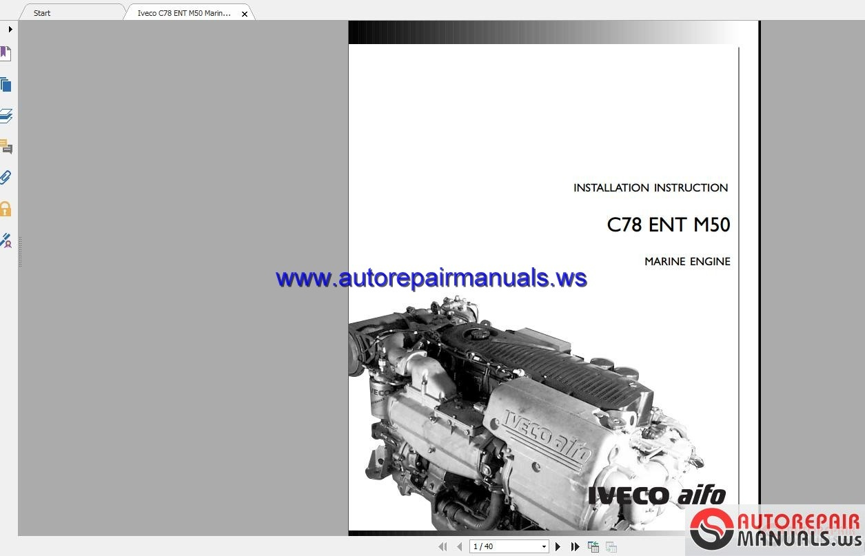 Iveco Marine Engines Series 8281 Workshop Manual Auto Electrical Navistar Cat Ct13 Engine Diagram C78 Ent M50 Installation Instruction