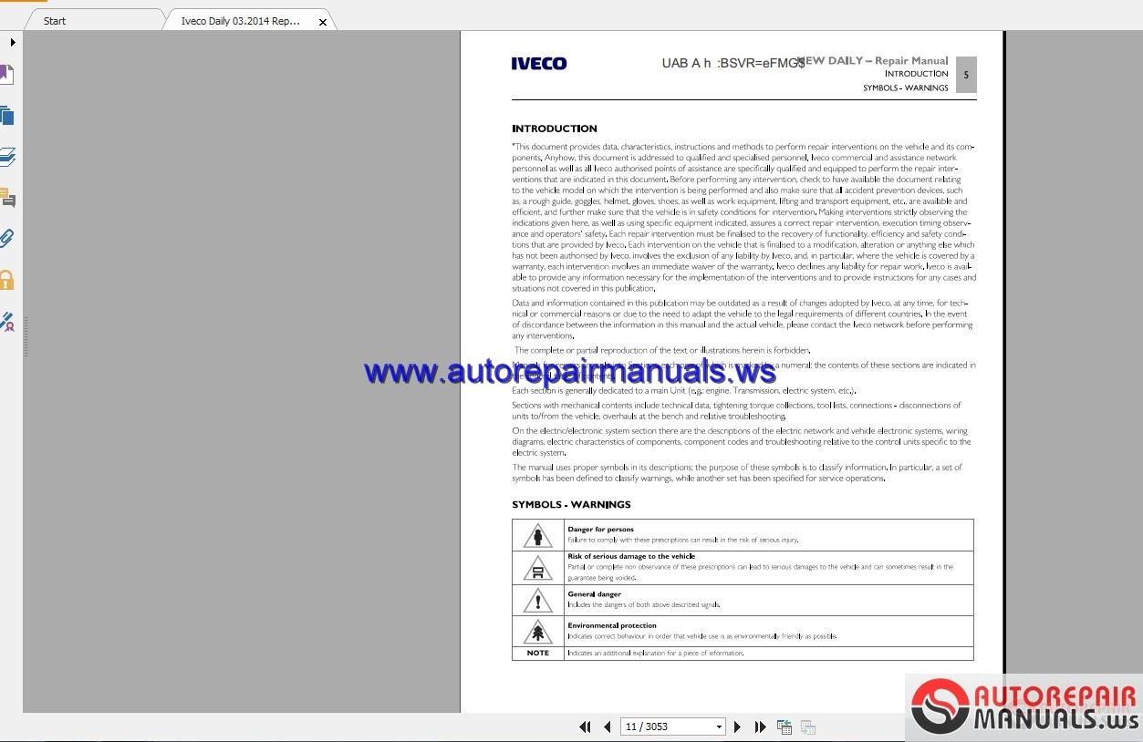 Manuals & Literature Service and Repair PDF Manual DOWNLOAD Iveco ...
