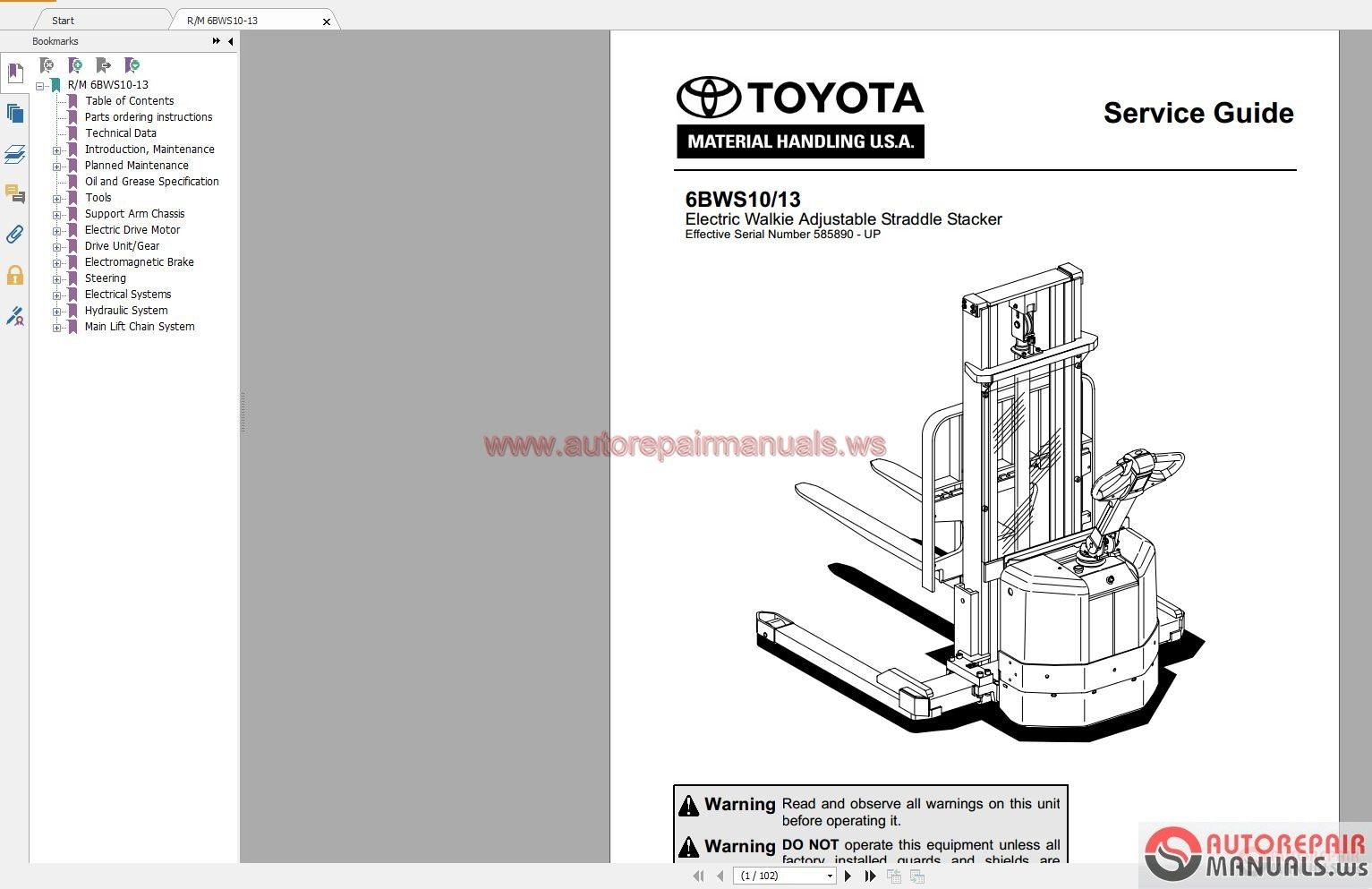 Toyota Forklift Truck Full Set Manual Dvd on linde forklift parts diagram