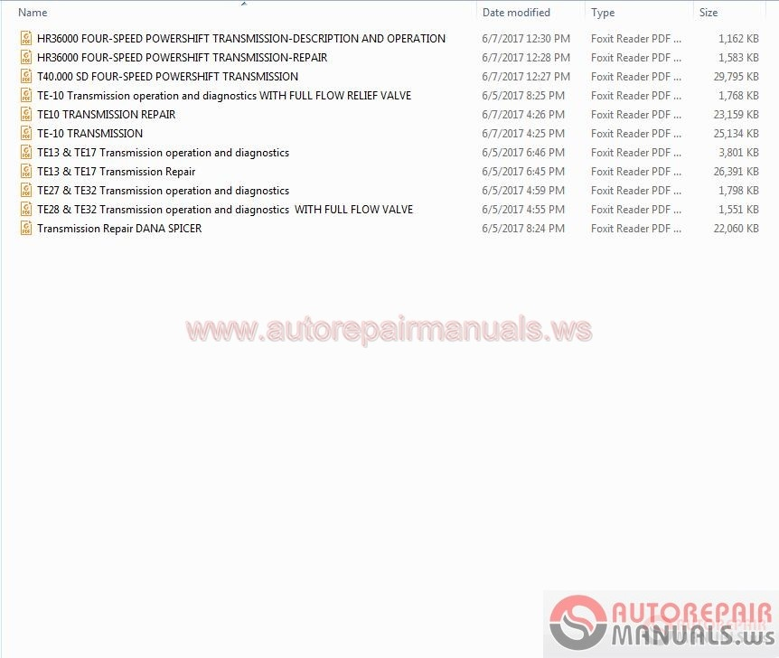 Dana Transmission Workshop Manuals Troubleshooting Manuals