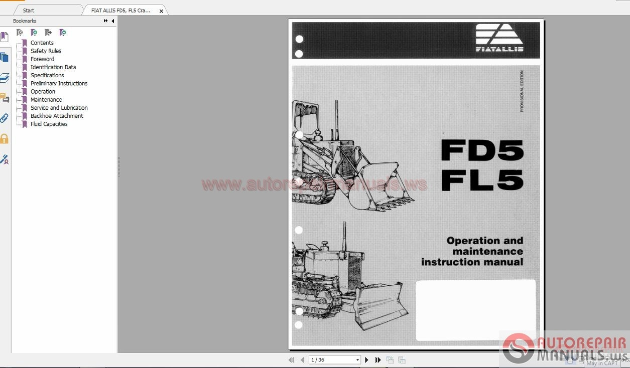 FIAT ALLIS Full Shop Manual DVD | Auto Repair Manual Forum ...