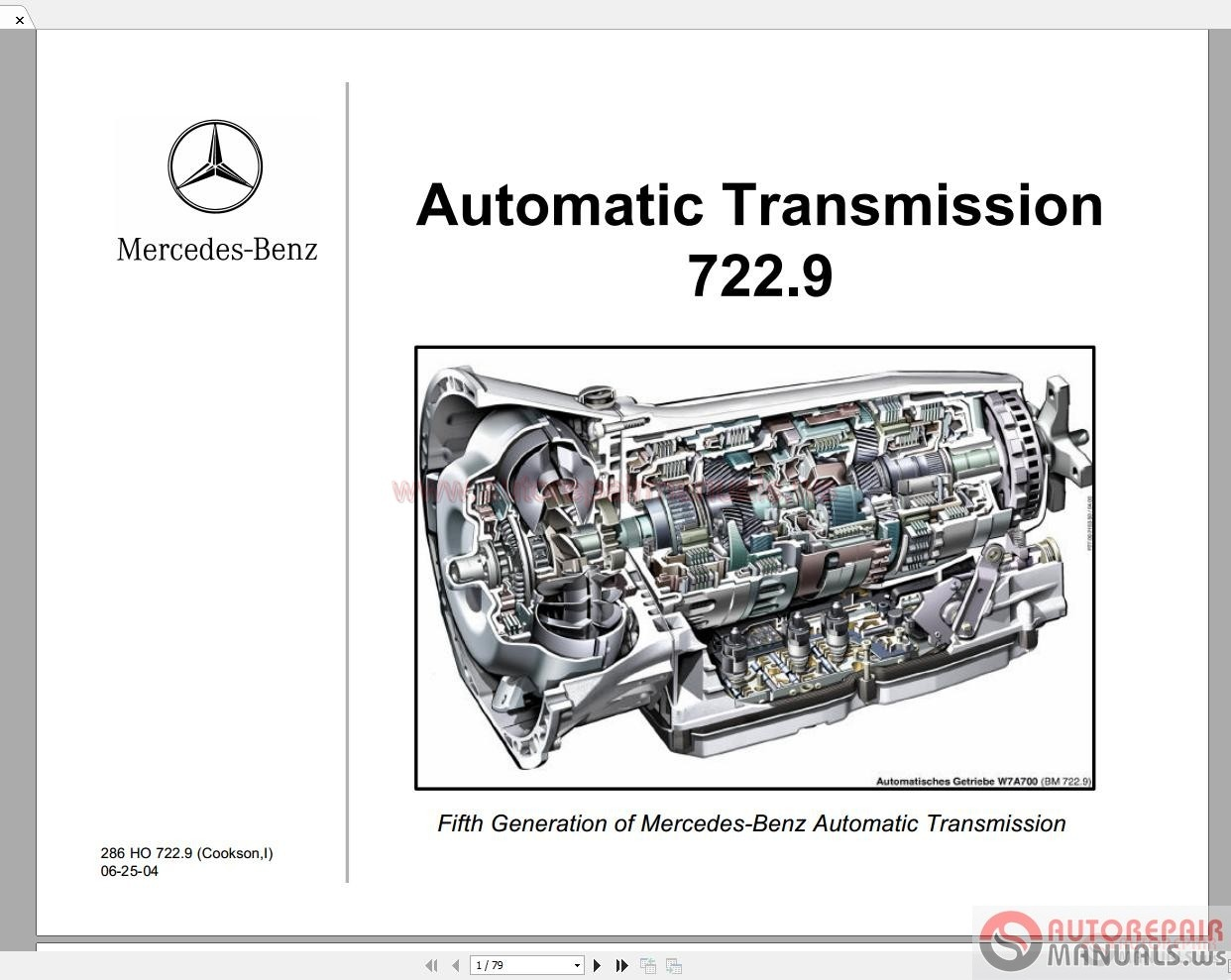 Mercedes benz automatic transmission 722 9 technical for Mercedes benz manual transmission