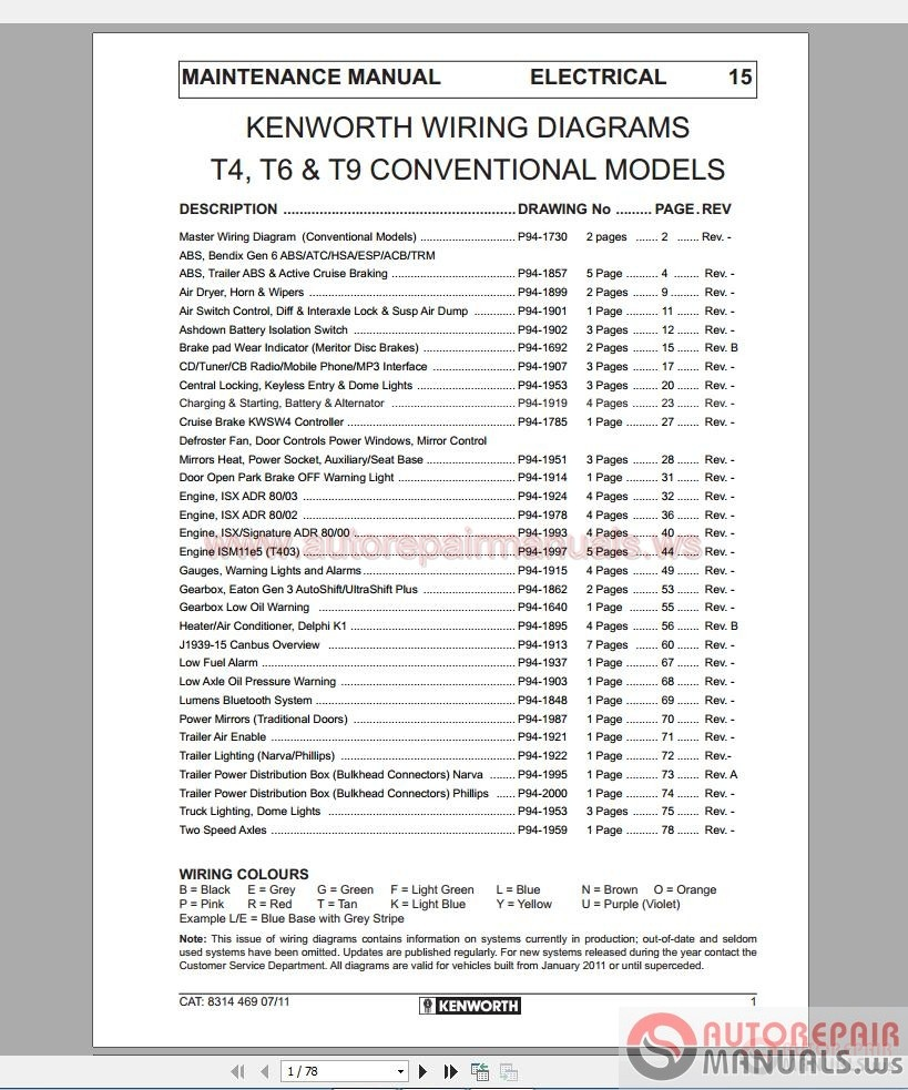 Kenworth T4 6 T9 Conventional Models Wiring Diagram