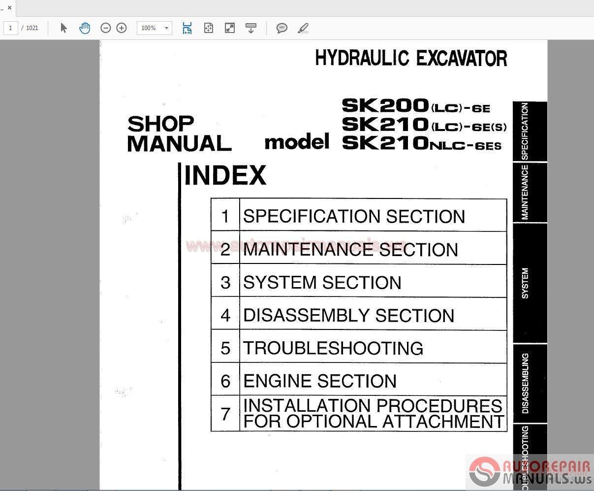 Kobelco Hydraulic Excavator Sk200 Sk210 6e S S5yn0017e Shop Manual Wiring Diagram More The Random Threads Same Category Sk250lc Parts S3lq04104ze01