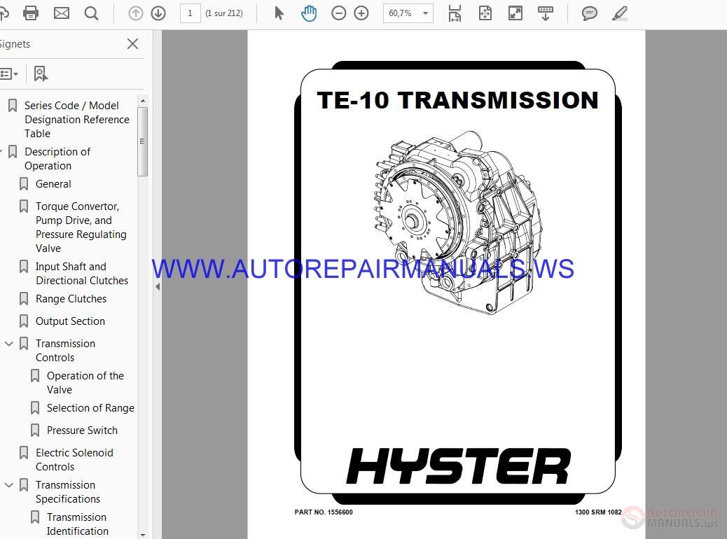 Dana Transmission Manual TE-10 TRANSMISSION   Auto Repair Manual