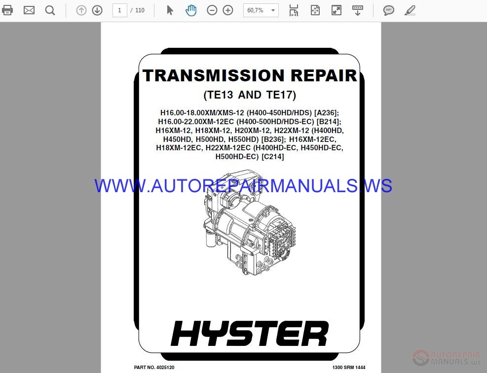 Dana Transmission Manual TE13 TE17 Transmission Repair