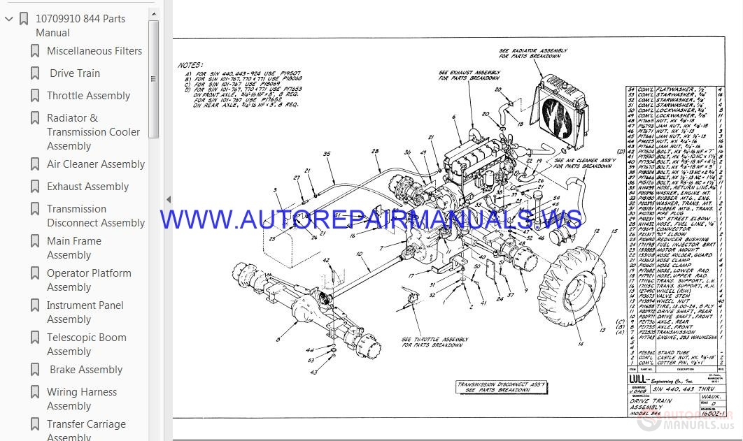 lull  jlg  telehandlers parts manual