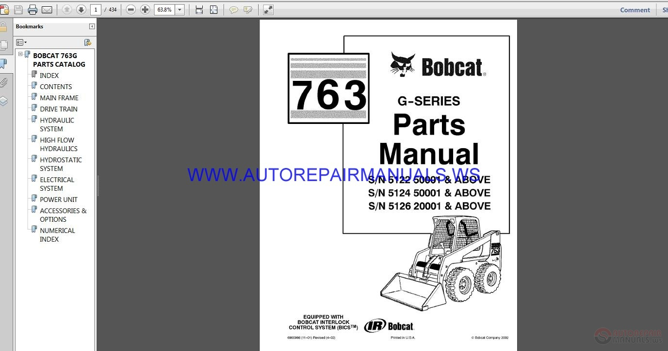 763 bobcat hydraulic schematic bobcat 763 parts manual auto repair manual forum heavy  bobcat 763 parts manual auto repair