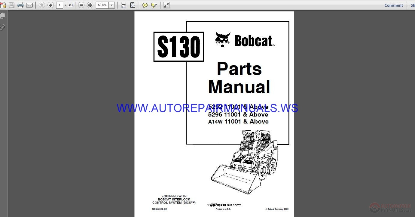 Bobcat S175 Skid Steer Loader Operation & Maintenance ...