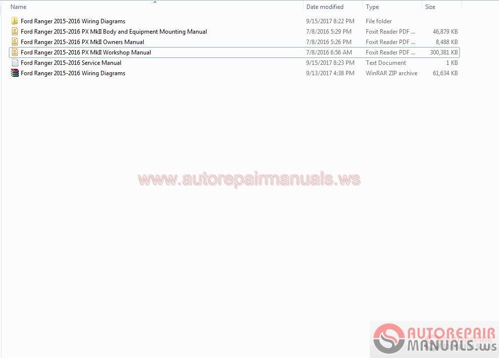 Ford Ranger 2015 2016 Service Manual Auto Repair Manual Forum Heavy Equipment Forums Download Repair Workshop Manual