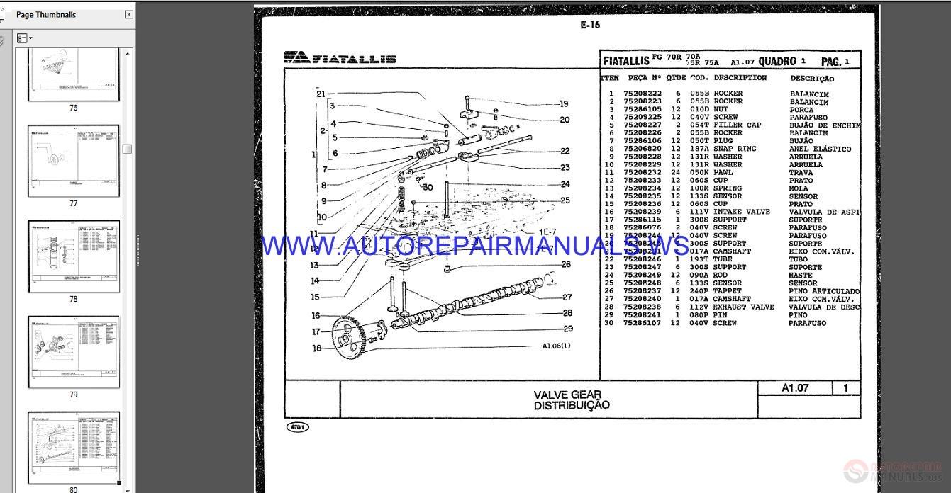 Fiat Allis Motor Grader Full Set Parts Catalog Dvd