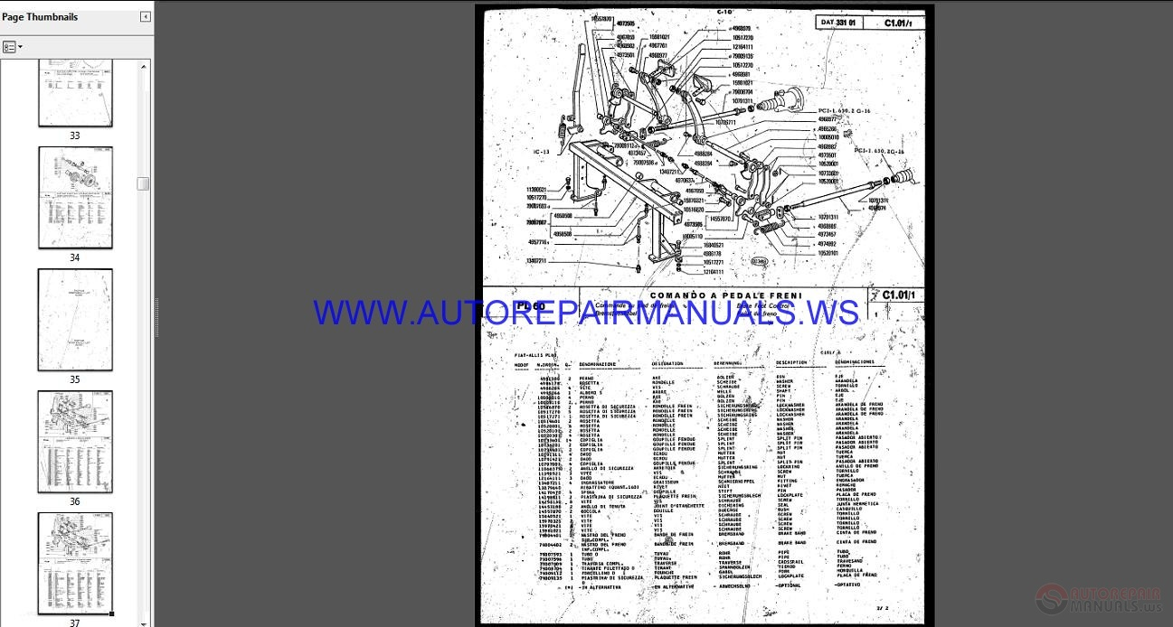 Fiat Allis 14c Parts : Fiat allis pipelayer fp fl parts manual auto repair