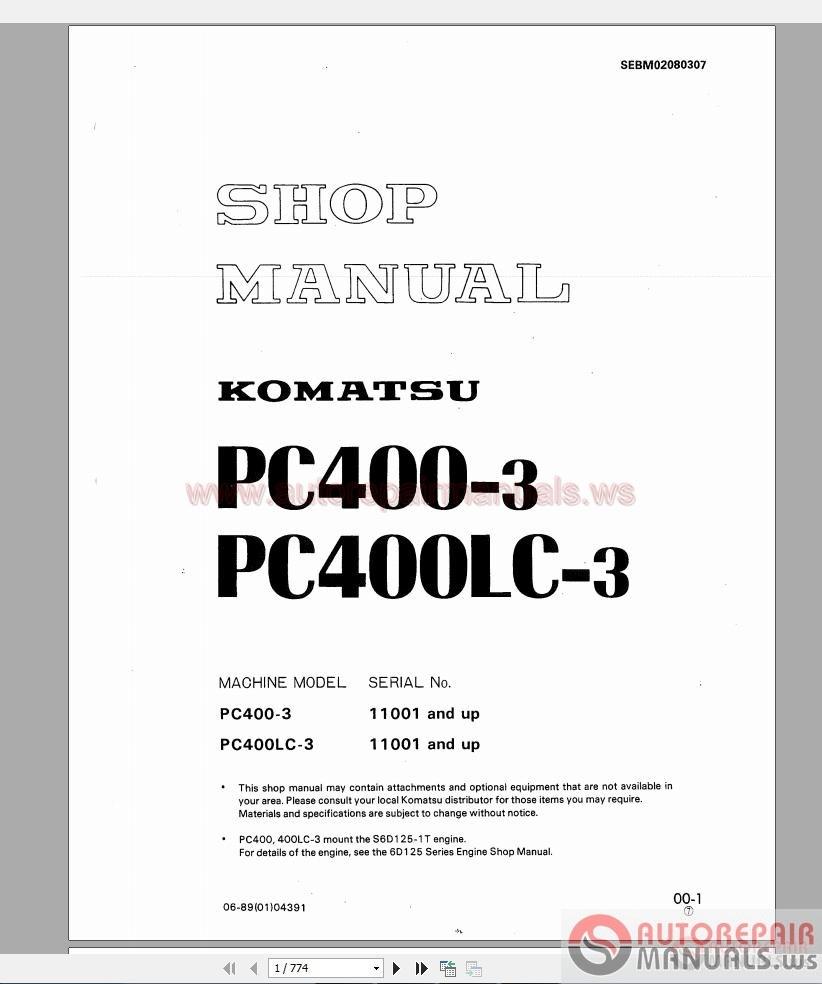 Komatsu Pc400 3 Shop Manual Auto Repair Manual Forum