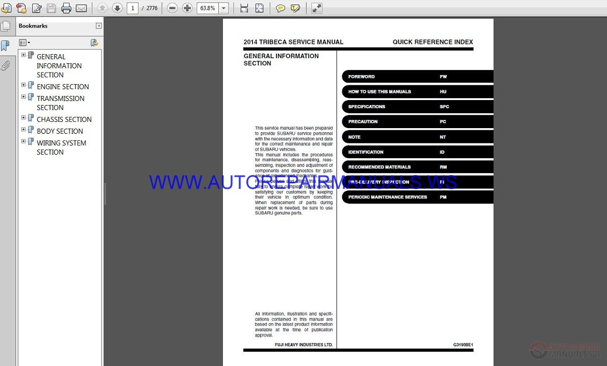 Subaru Tribeca W10 2014 Service Manual