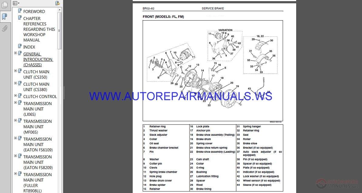 Hino Truck Fd1j Gd1j Fg1j Fl1j Fm1j Service Manual