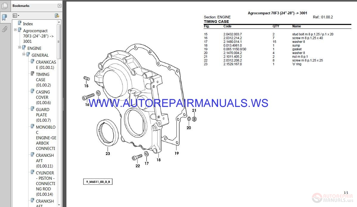 Deutz Fahr Agrocompact F75 20col Parts Manual
