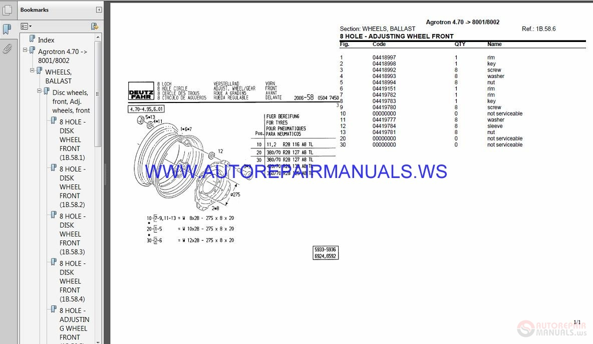 Deutz Fahr Agrotron 4 85 8005-8006 Parts Manual | Auto Repair Manual