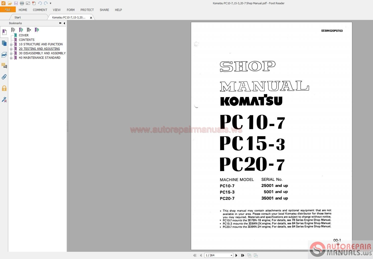 Komatsu PC10-7,15-3,20-7 Shop Manual | Auto Repair Manual