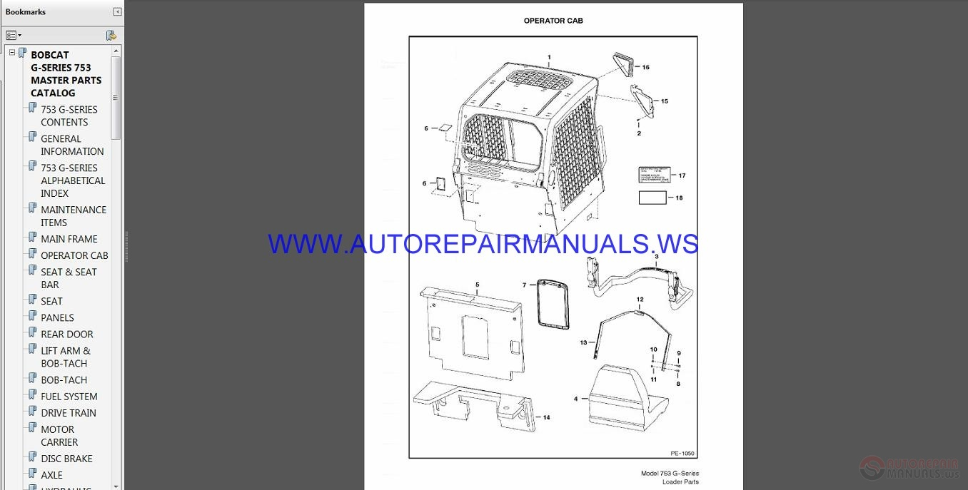Auto Repair Manuals: Bobcat 753 Parts Manual SN5158 30001 - SN5162 20001