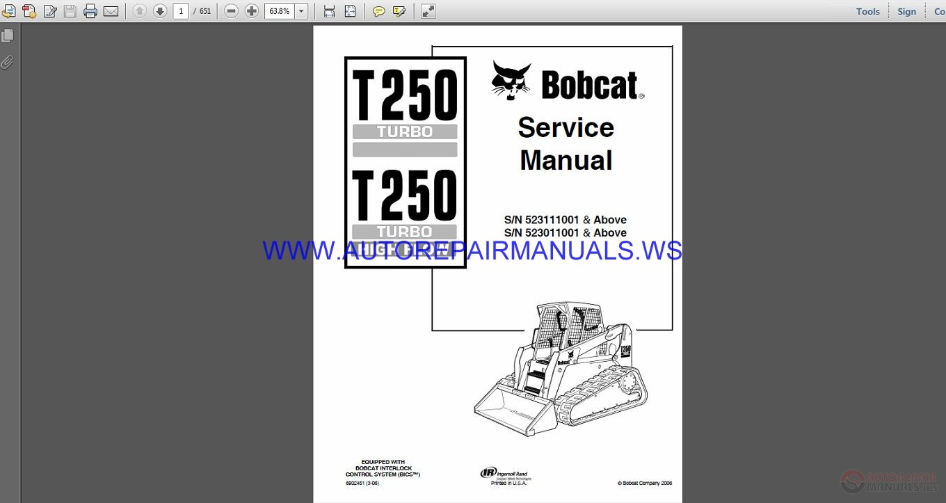 Bobcat T T H Service Manual Cd Gv