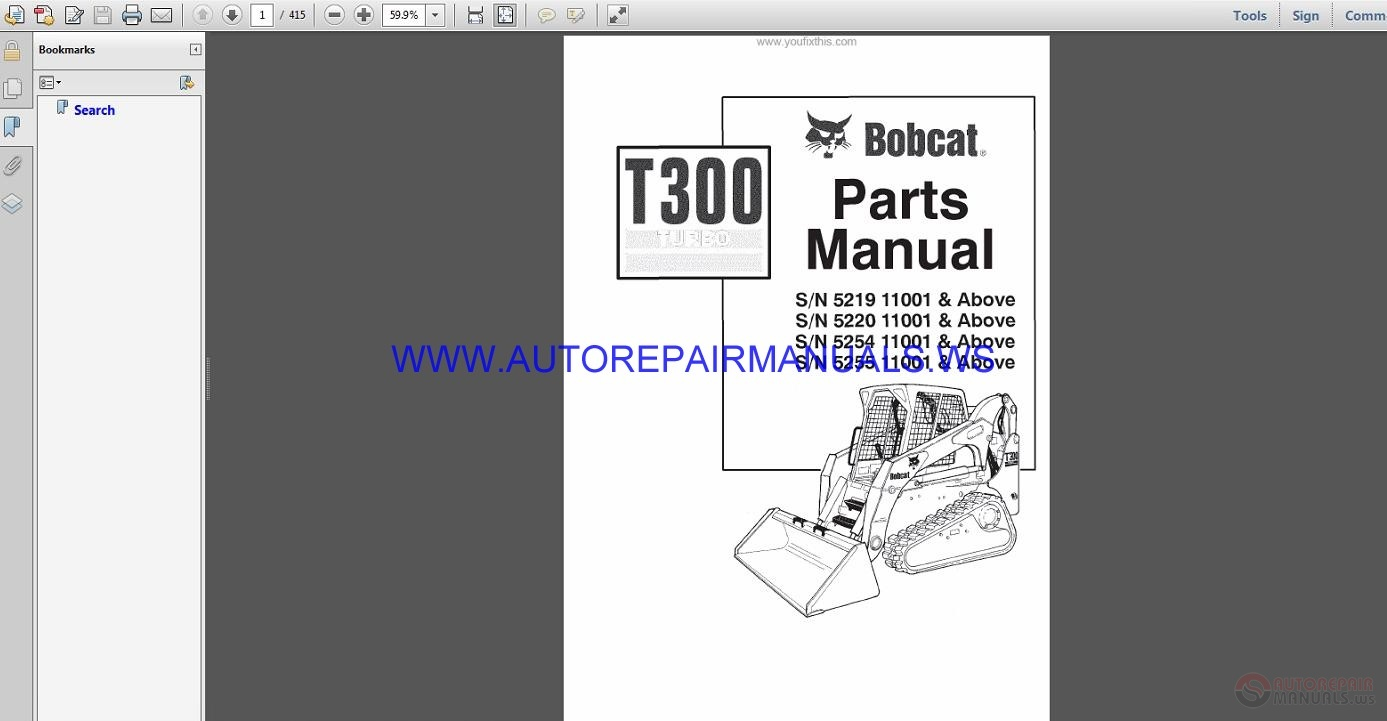 Bobcat T300 Repair Manual John Deere 4850 Wiring Diagram Also Termed Book Describes Vehicle Most Complete Operation Bobcats Covers Scribd Komatsu Pc160 6k Hydrau Hydraulic Excavator