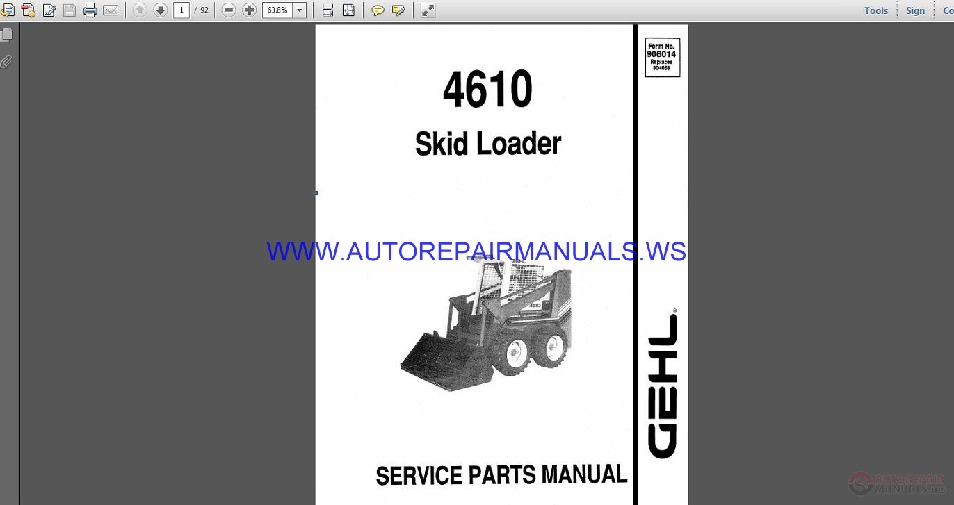 More the random threads same category: Gehl Attachments Compact Excavator Parts  Manual 918180B ...