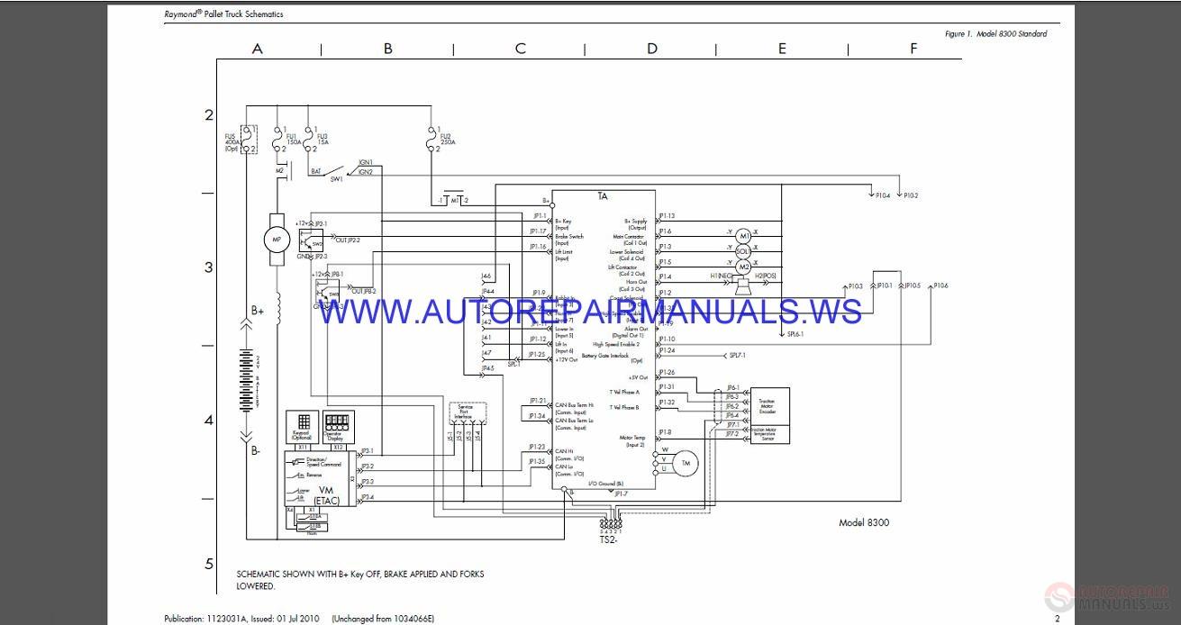 raymond 8300-8400-8500-8600 pallet truck schematics manual