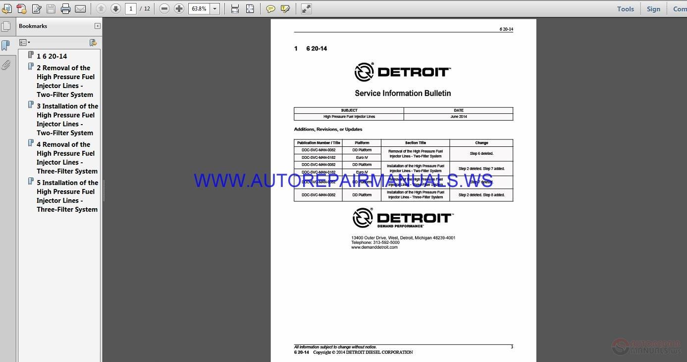 Detroit Diesel 6 20 14 Fuel Injector Parts Manual Auto Repair Diagram Click Here Download