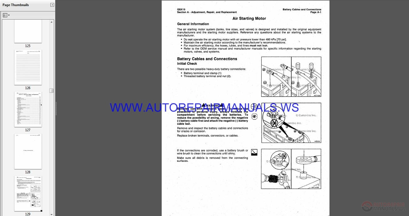 Cummins Industrial And Power Generation Engine Qsx15 Operation Maintenance Parts Manual