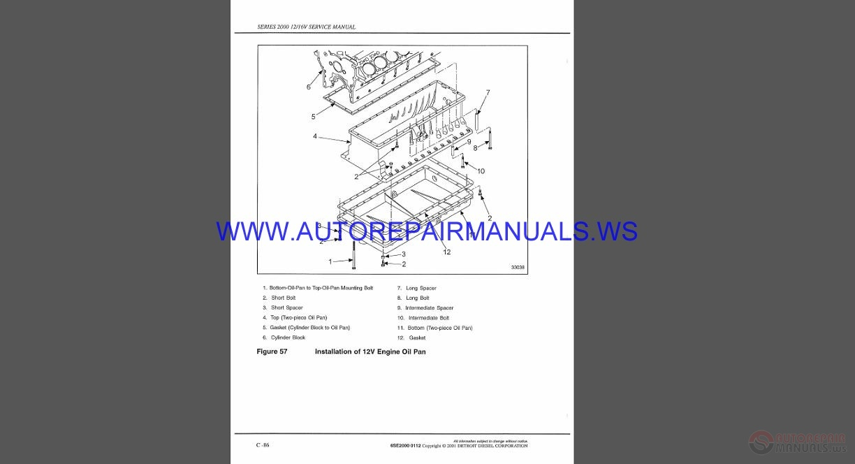 Detroit Diesel DDC-MTU Series 2000 12-16V Service Manual | Auto