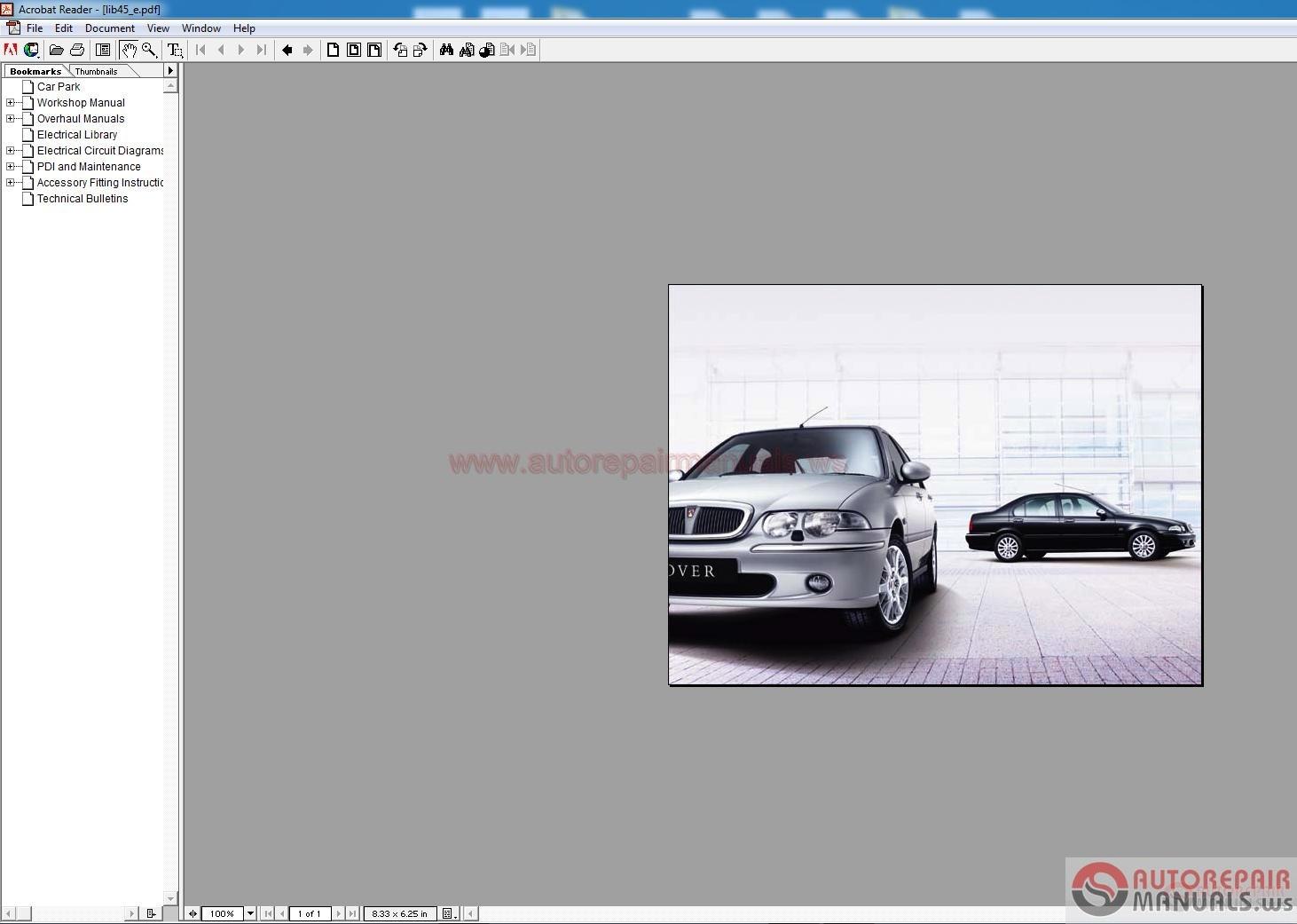 MG Rover 45 Platform Workshop Manuals Auto Repair Manual