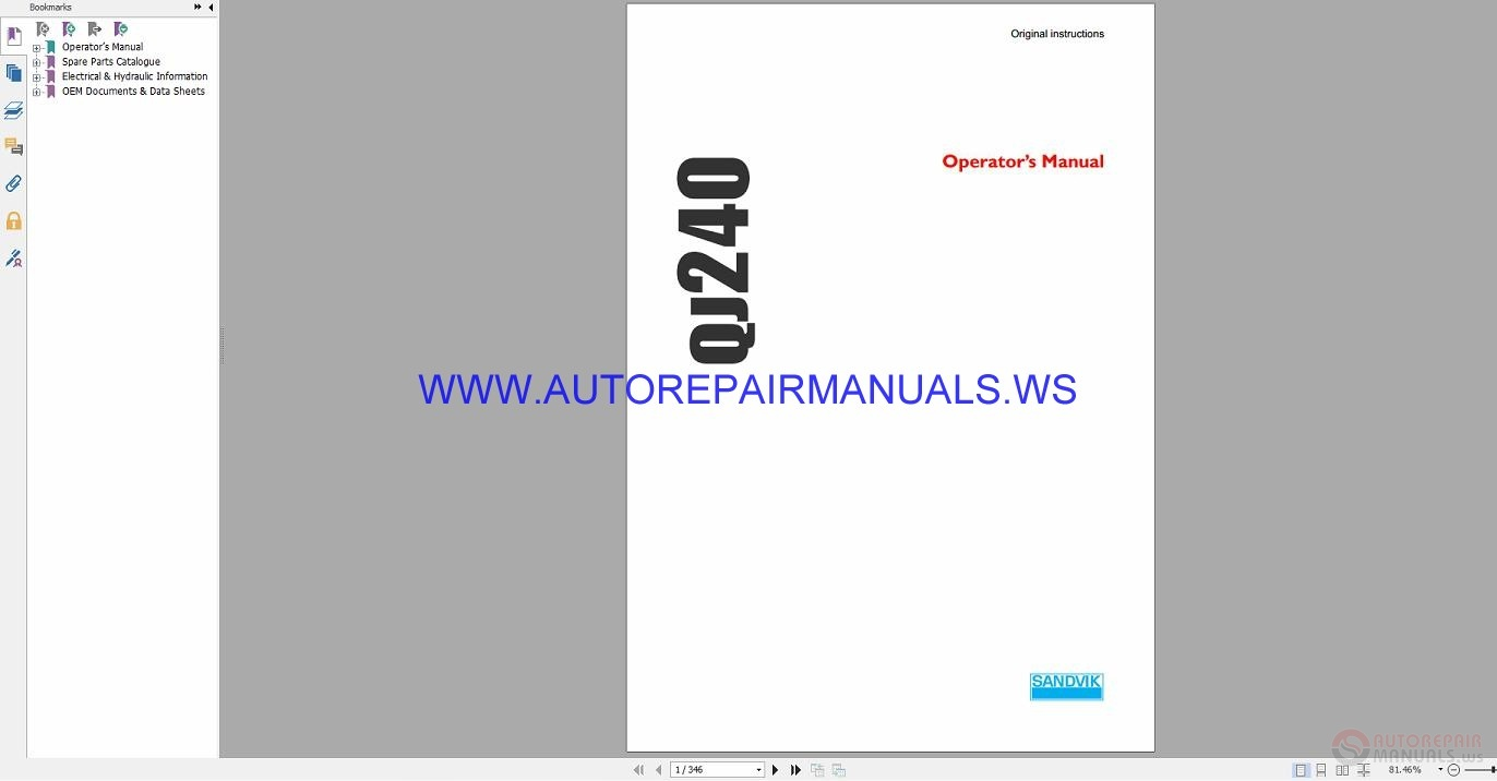 Sandvik QJ240 Operators Manual_Eng | Auto Repair Manual Forum
