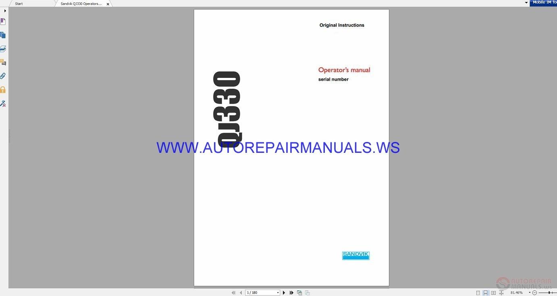 Sandvik QJ330 Operators Manual_Eng | Auto Repair Manual Forum