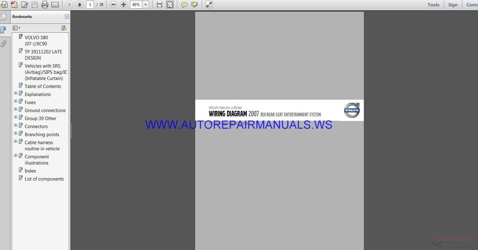 Volvo S80 Xc90 Tp39111202 Late Design Wiring Diagram