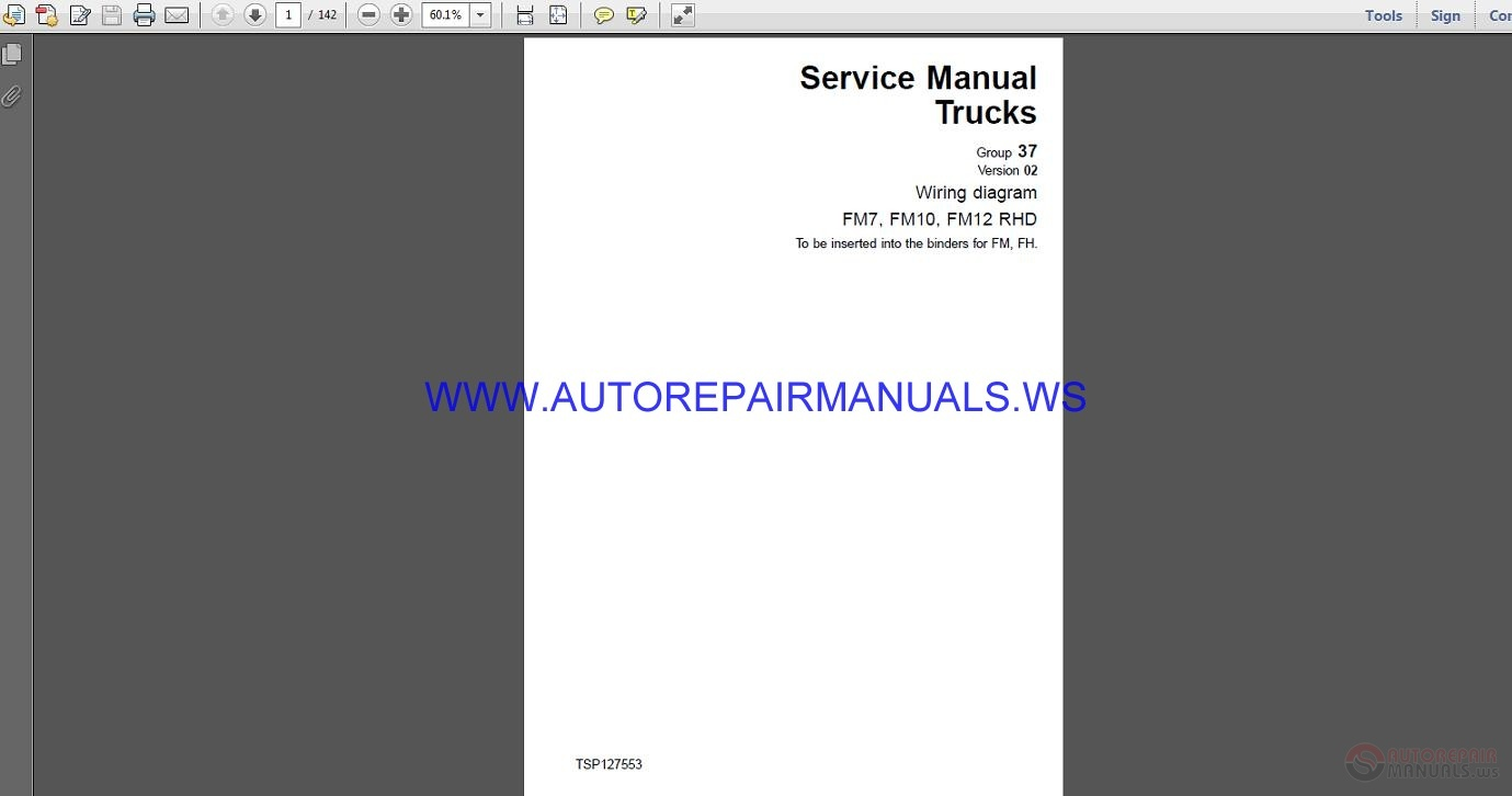 Volvo Trucks Fm7 Fm10 Fm12 Rhd Wiring Diagram Service Manual