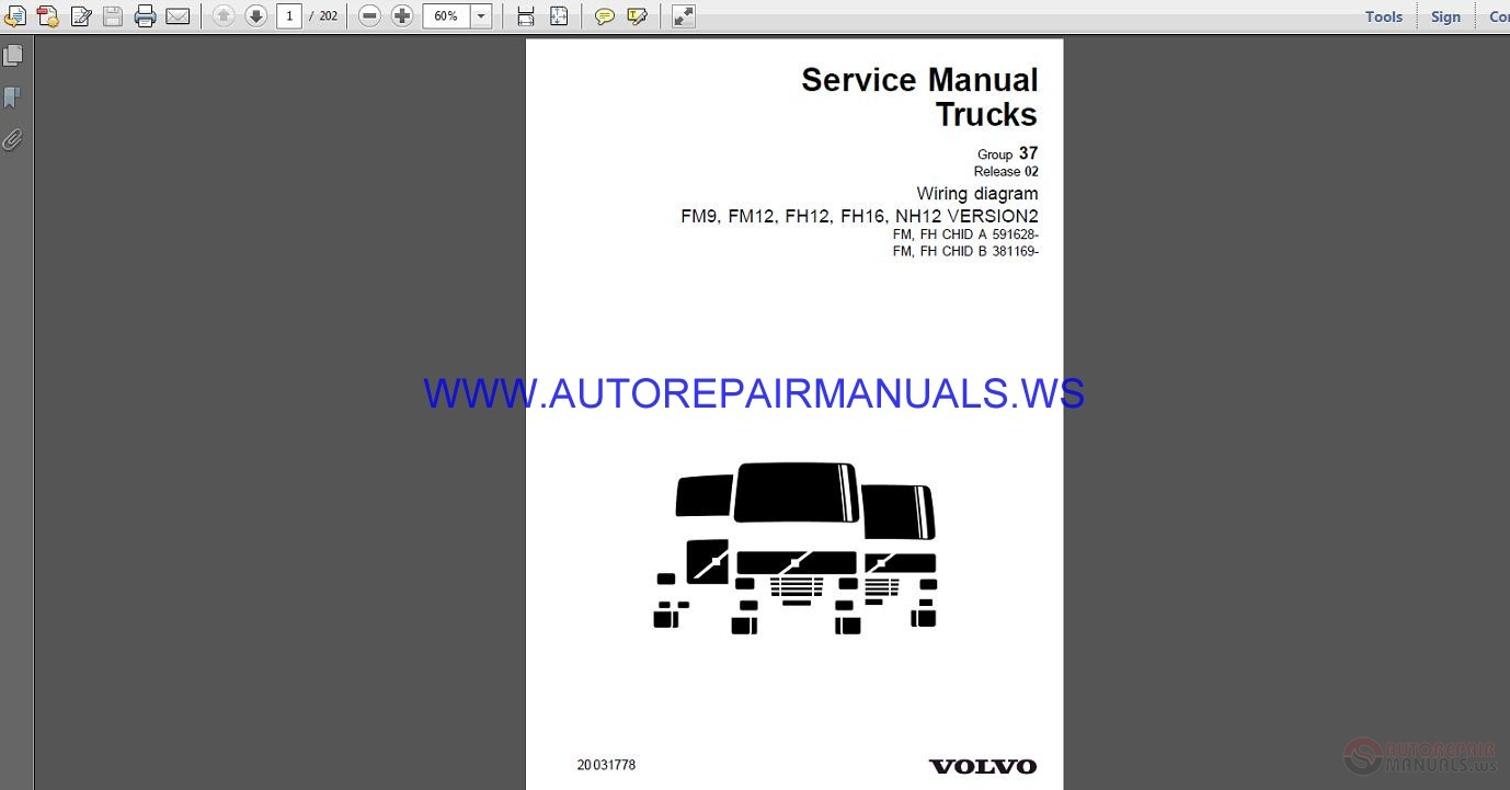 Volvo Trucks Fm9 Fm12 Fh12 Fh16 Nh12 Version2 Wiring Diagram Service Manual Eng17555