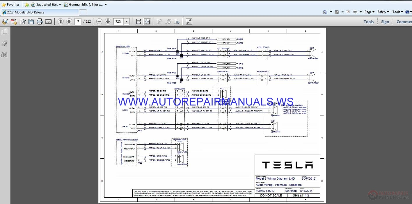 Tesla Model S 2012 2014 Service Manual Auto Repair