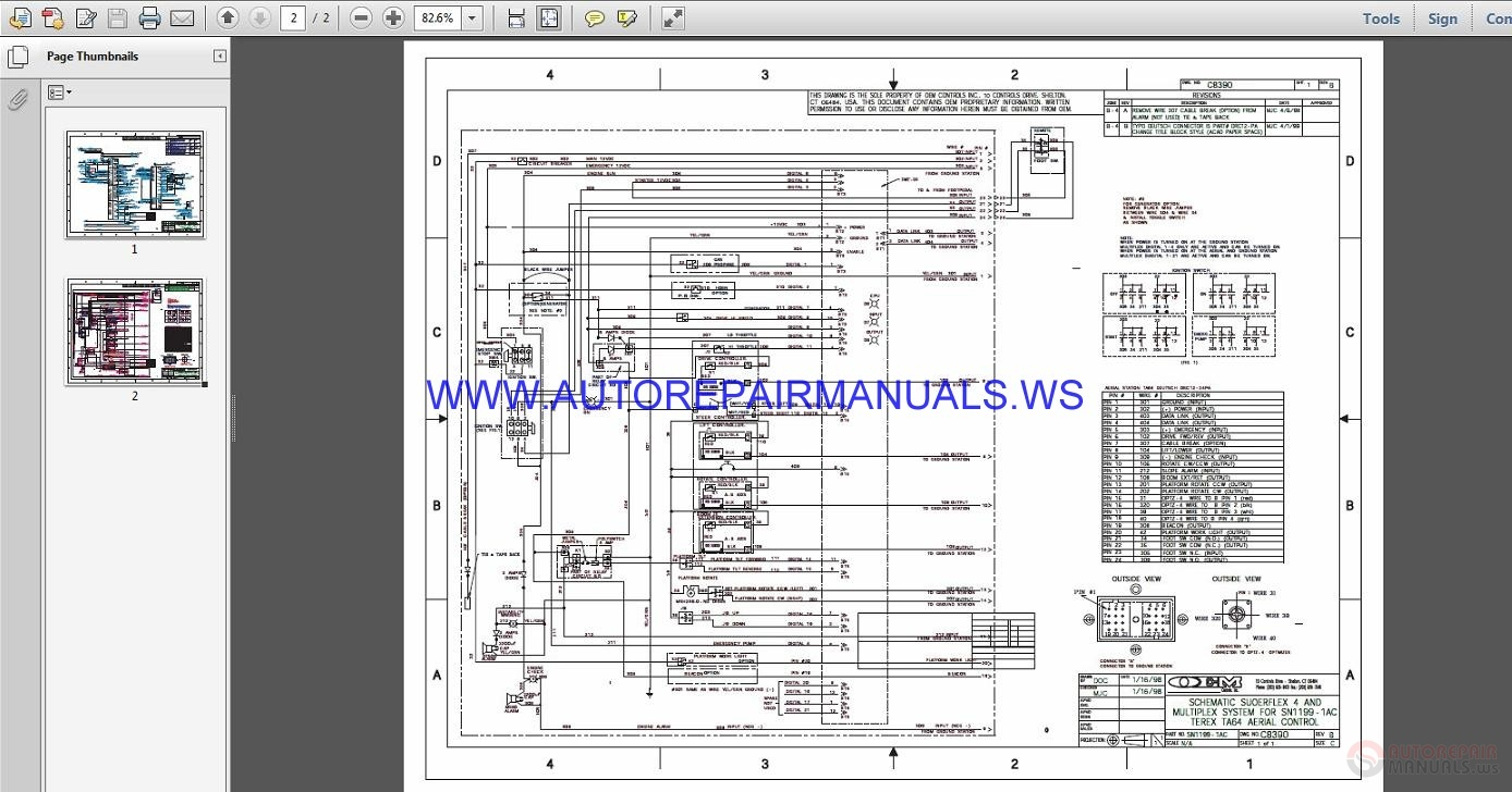 Terex Lift TA64 Electrical Schematic    Wiring       Diagram    Parts