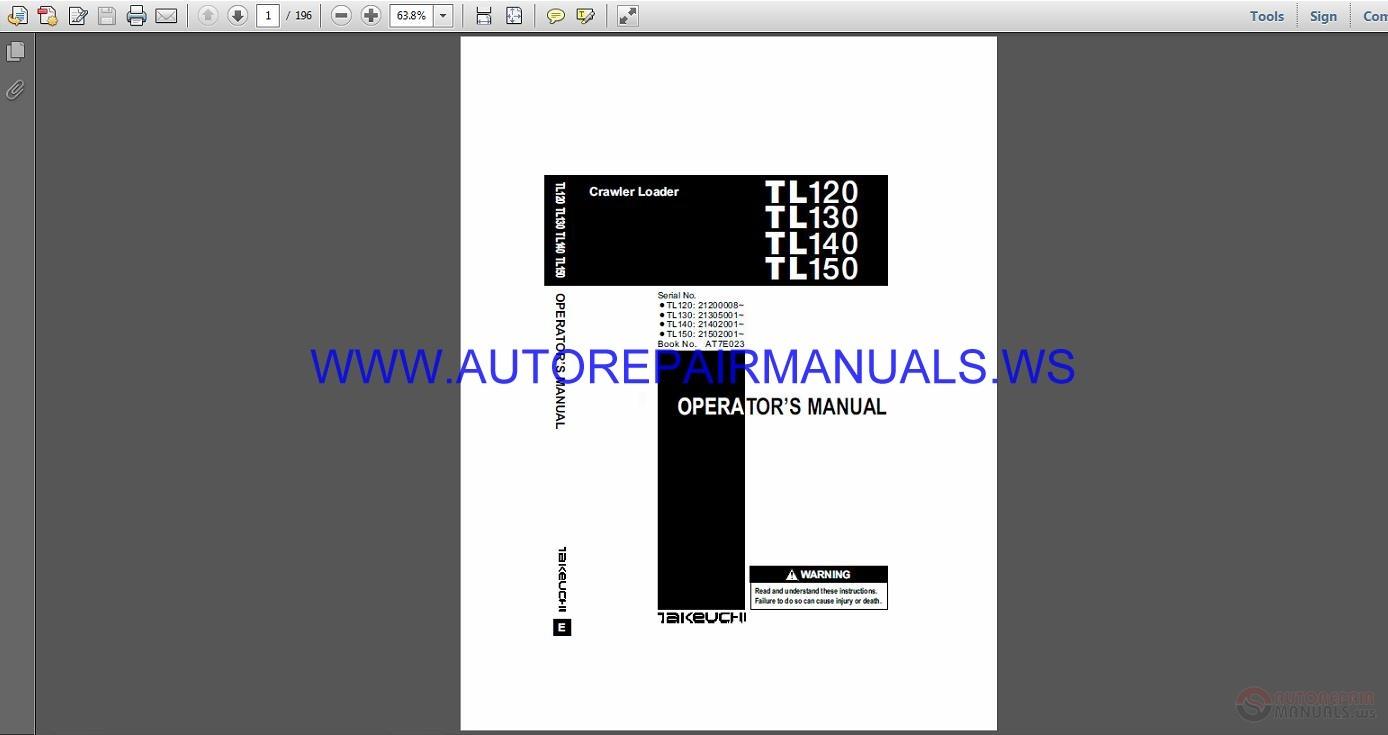 Takeuchi TL120 130 140 150 Crawler Loader Operator's Manual