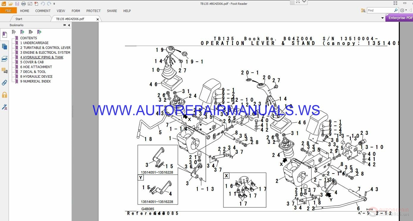 Takeuchi Tb135 Parts Manual Bg4z006