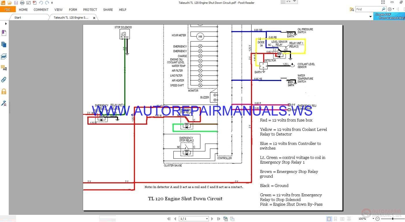 Takeuchi Tl 120 Engine Shut Down Circuit Wiring Diagram Manual