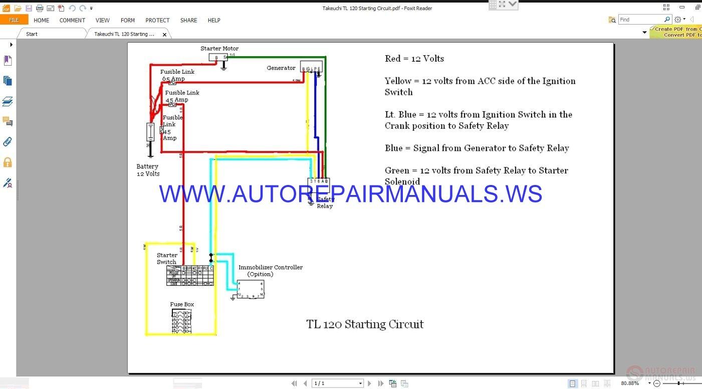 Takeuchi Tl 120 Starting Circuit Wiring Diagram Manual