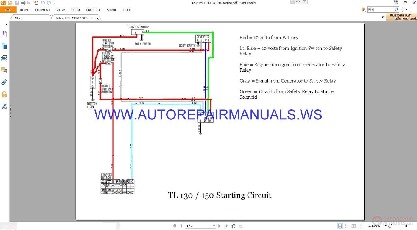 Takeuchi Tl 130  U0026 150 Starting Circuit Wiring Diagram Manual