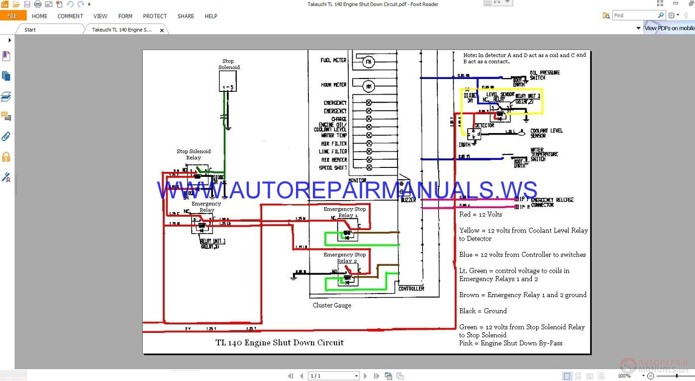 Takeuchi Tl 140 Engine Shut Down Circuit Wiring Diagram Manual