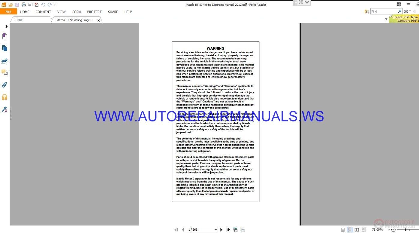 Mazda Bt 50 Wiring Diagrams Manual 2012