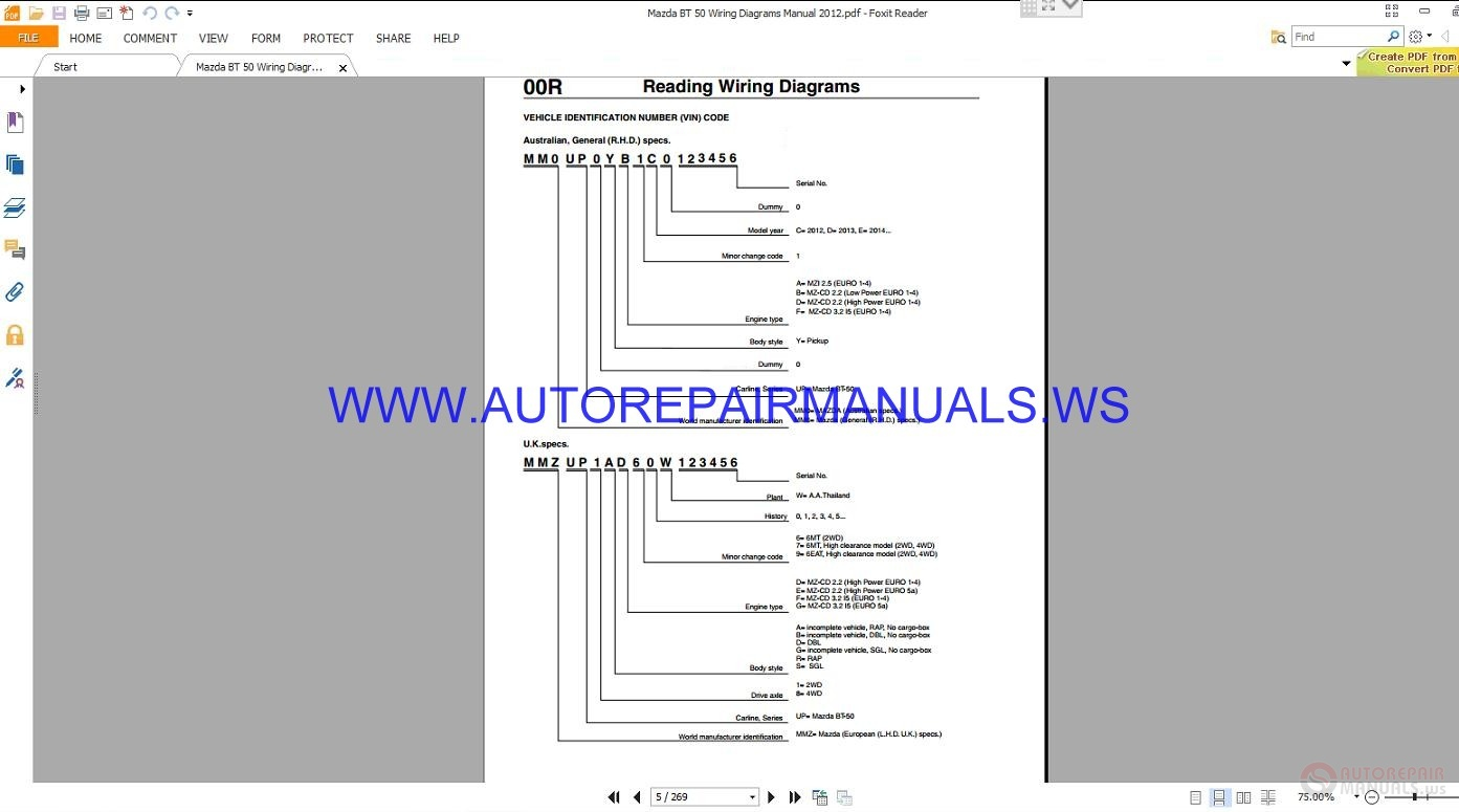 Mazda Bt 50 Wiring Diagrams Manual 2012
