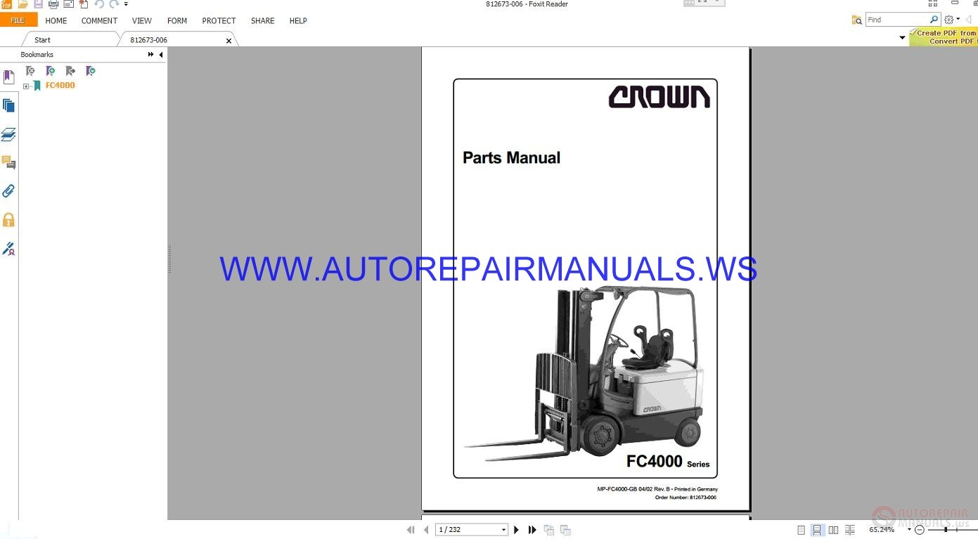 Crown Forklift FC4000 Series Parts Manual 812673-006-0M Size: 15.6 Mb  Language: English Type: PDF Pages: 232. FC4000_812673-006-0M [ IMG]